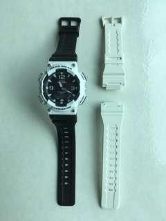 Casio solar AQ-S810W White/Black matched, white case with Casio black strap, original Casio white strap included 太陽能白身配黑色帶,連原裝白色帶