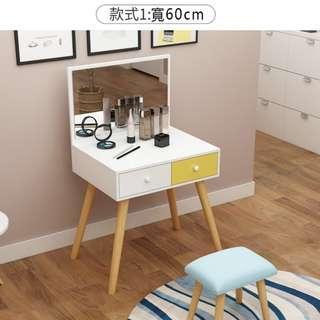 寬60cm,含運含組裝,現代簡約實木梳妝台送椅子,大容量儲物,分類擺放,貼心人性化設計臥室北歐化妝桌兼書桌兩用設計。
