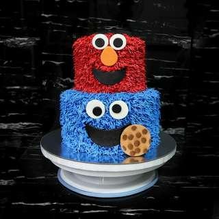 Elmo & Cookie Monster Cake