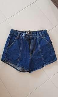 Dark blue denim high waist shorts