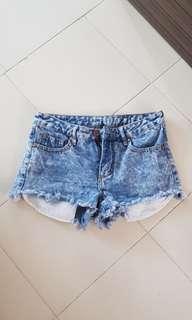 Cotton on mid waist frayed shorts