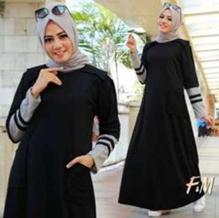 Gamis /dress all size black (harga pas)