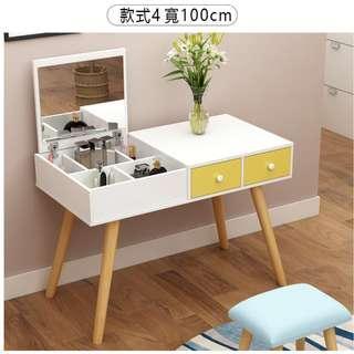 寬100cm,含運含組裝,現代簡約實木梳妝台送椅子,大容量儲物,分類擺放,貼心人性化設計臥室北歐化妝桌兼書桌兩用設計。