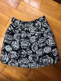大玫瑰黑色褲裙