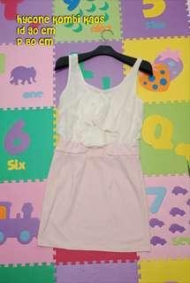 Mini dress sexy putih pink