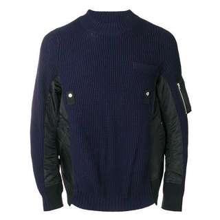 🚚 Sacai FW18 mixed fabric sweater 18秋冬 異材質拼接毛衣 針織 尼龍材質 微寬版 1號