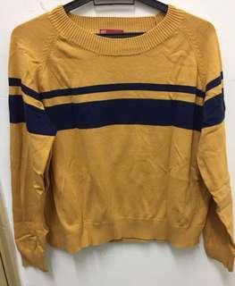 PDI size XL Striped Mustard Top