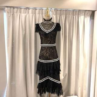 New alice + Olivia Annette Lace evening gown