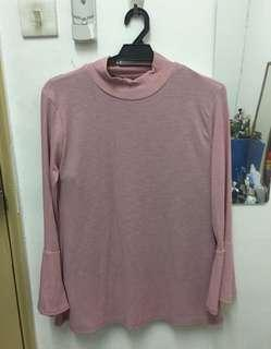 Knitted turtleneck soft pink flare sleeve tshirt