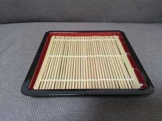 日本帶回 涼麵盤 餐盤 托盤 碗盤(附天然竹墊)