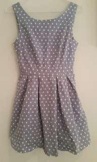 Pleated chambray spotty dress