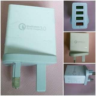 ❤️4 Port USB Fast Charger Qualcomm Brand New 充電器 ❤️