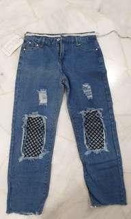 🚚 Clearance Denim Fishnet Ripped Jeans (Free Mailing)
