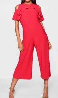 Red Cold Shoulder Culotte Jumpsuit - Size Small