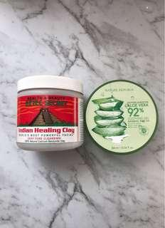 Aztec Indian healing clay, aloe Vera 92% gel, skin care products