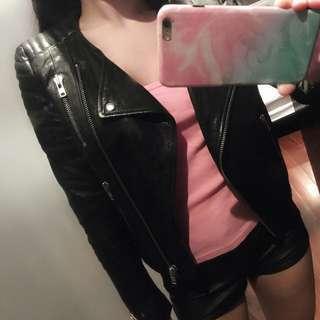 H & M black genuine leather jacket Balmain Collection