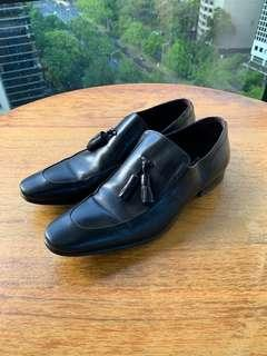 Gino Bianchi Men's Leather Shoes Black Loafers 39