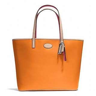 NEW Coach Metro Large Leather Tote Bag Purse Tangerine F31326