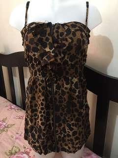 Animal print full zip dress