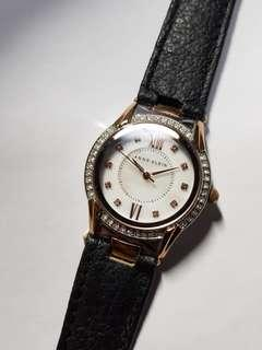 Authentic Anne Klein watch for ladies with black leather strap