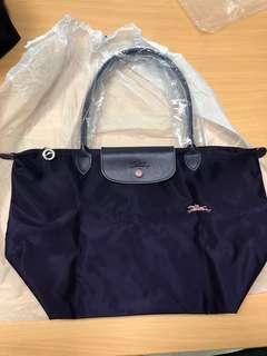100% NEW Longchamp le pliage tote 手提袋 長帶 size L 紫 purple
