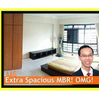 Spacious Master Bedroom for Rent in Woodlands. M'sian Welcomed <<527 Woodlands Drive 14 >>