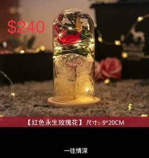 唯美 浪漫 燈飾 玻璃罩 永生花 保鮮花 白色情人節 生日 女朋友 母親節