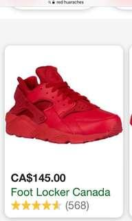 Red huaraches sneakers