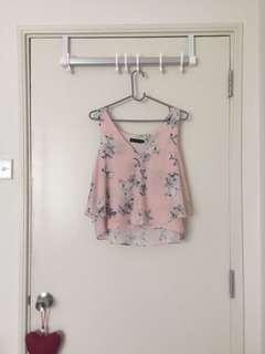 Baby Pink Floral Sleeveless Top