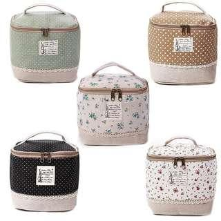 Cosmetic Toiletry Organizer Linen Cases Travel Makeup Bag