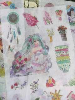 Anime floral  Forest washi Stickers 3 Sheets