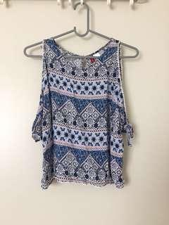H&M Sleeveless Cold Shoulder Tribal Top