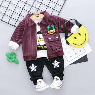 🚚 🌟PM for price🌟 🍀Baby Boy Donald Duck Printed Long Sleeves Top+Stripes Jacket+Pants 3pcs Set🍀