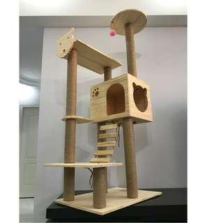 *sale* solid wood cat kitten scratch condo tree, not cage cushion bed toy