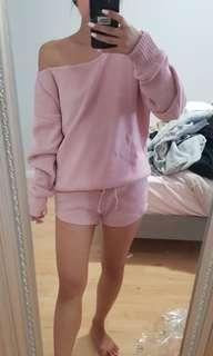Pink knit lounge set
