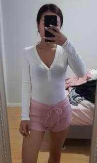 White long sleeve thong bodysuit size s