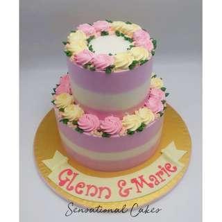 Rosette floral cream 2 tier paastel lavender theme cream cake #singaporecake