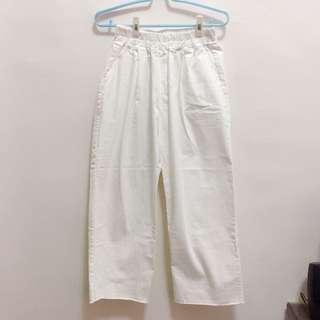 韓製白色寬褲