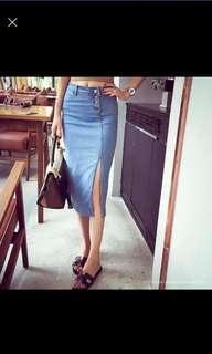 Light blue denim slit skirt