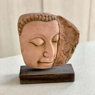 Buddha face faux stone on wood block deco display