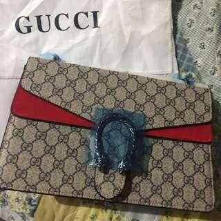 Beautiful replica Gucci GG Supreme Monogram Medium Dionysus Shoulder bag Red