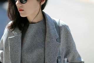 #nude 立領隱藏扣大衣灰白織紋外套