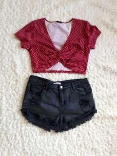 Crop top and short shorts