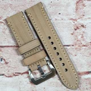 Sale : Premium Genuine Leather 24mm Watch Strap Khaki Colour Special Scratched Texture (M5)
