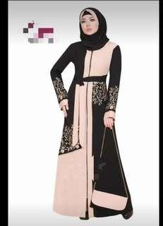 Al-Khalijiyah Black & Brown Abaya with Embroideries