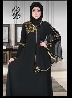 Al-Hikmah Black Abaya with Gold Flowers Embroideries