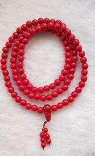 Red coral bracelets 8mm 108 beads