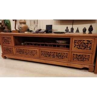 Teak Wood carving TV table