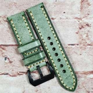 Sale : Premium Waxed Genuine Leather 24mm Watch Strap Green Colour (M6)