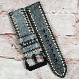 Sale : Premium Waxed Genuine Leather 24mm Watch Strap Black Colour (M7)